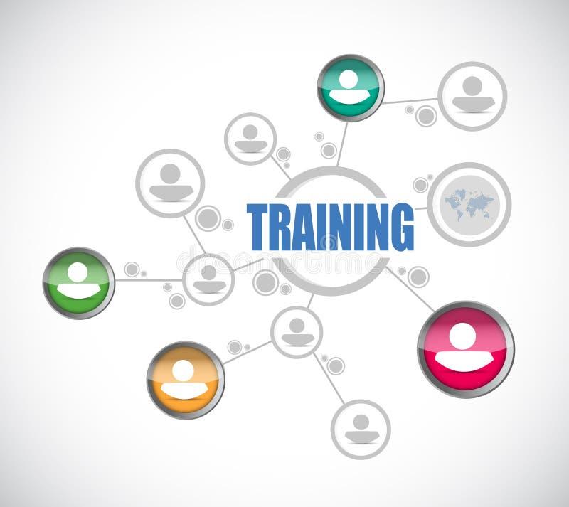 Business man training network diagram model. Illustration over white vector illustration