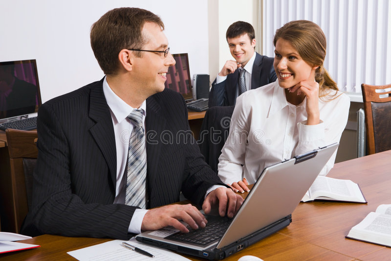 Business man trains colleagues royalty free stock photography