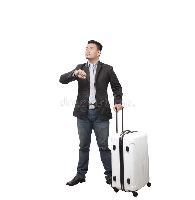 Business man and traveling luggage standing and rise light hand stock images