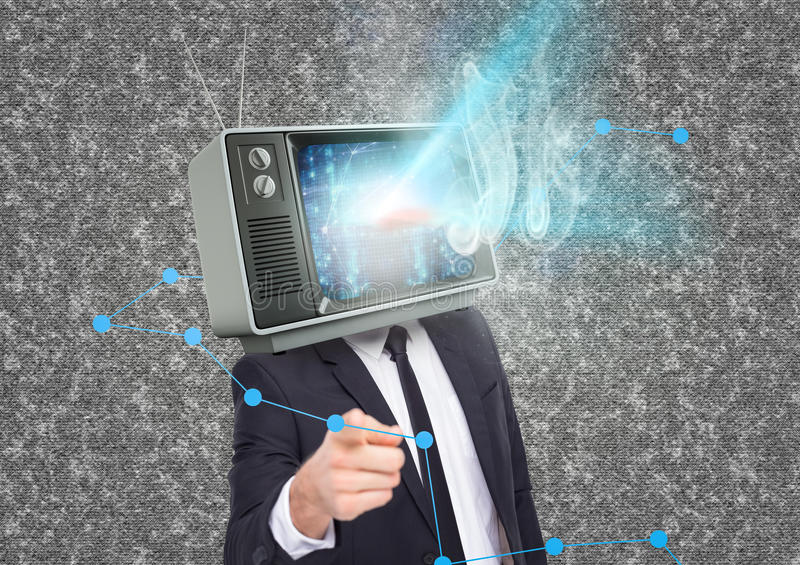 Business man with tv head and flares going out of the tv. Digital composite of Business man with tv head and flares going out of the tv royalty free stock images