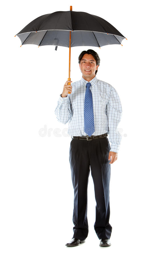 Download Business man with umbrella stock photo. Image of brunet - 12816166