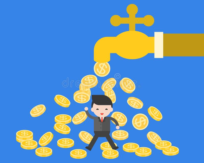 Business man under falling coins from water tab royalty free illustration
