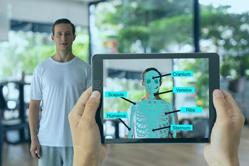 Business man use augmented mixed virtual reality integrate artificial intelligence combine deep, machine learning, digital twin, 5 stock photography