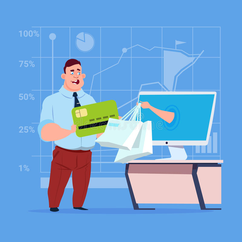 Business Man Use Computer Online Shopping Bag Businessman Hand Screen Buying Through Internet Commerce. Flat Vector Illustration royalty free illustration