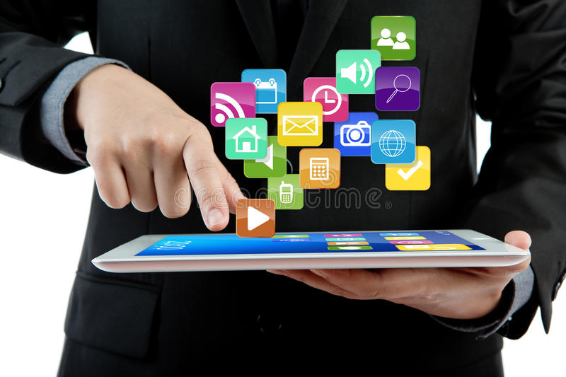 Download Business Man Use Tablet Pc Computer. Stock Image - Image: 24948341