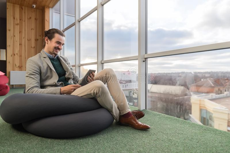 Business Man Using Cell Smart Phone Sit In Front Panoramic Window Businessman Coworking Center stock photography