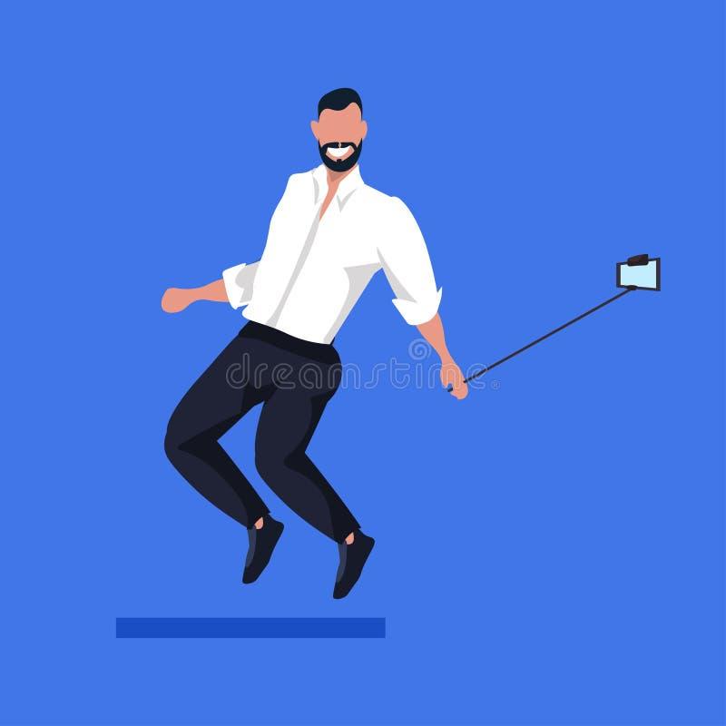Business man using selfie stick taking photo on smartphone camera businessman in formal wear male cartoon character. Posing flat full length vector illustration vector illustration