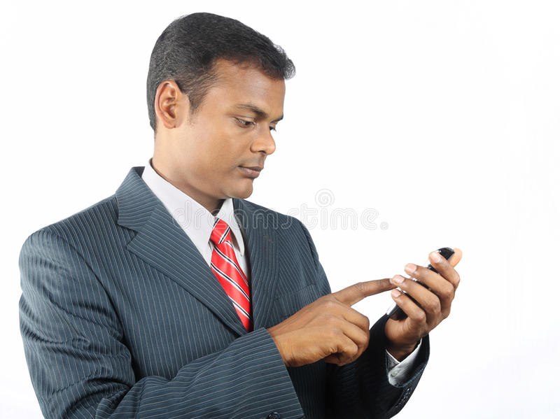 Business man using smartphone royalty free stock images