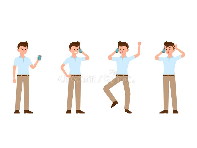 Business man using smartphone cartoon character. Vector illustration of sad, happy, angry, surprised phone call. Business man using smartphone cartoon character stock illustration
