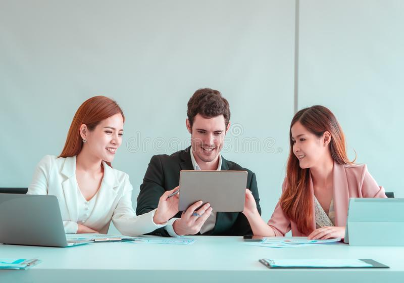 Business man using tablet in business meeting room royalty free stock photography