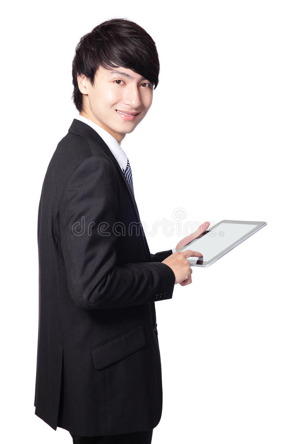 Business Man Using Touch Pad Royalty Free Stock Image