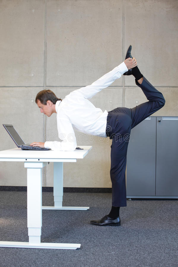 Business man v3.0 - Young fit ,corporate warrior. As a healthy life icon at work stock image