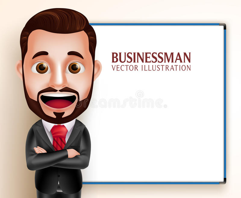 Business Man Vector Character Happy Speaking for Presentation vector illustration