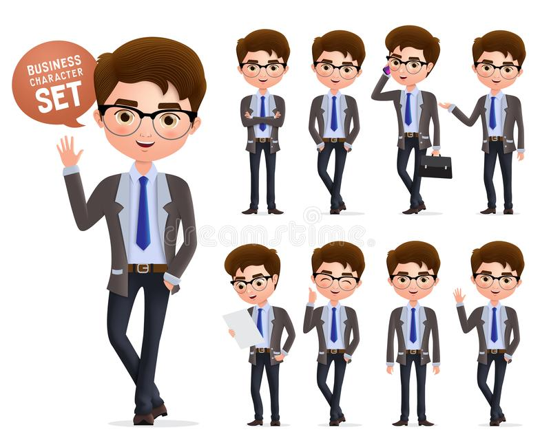 Business man vector character set. Male business characters happy standing, talking and waiving hand. vector illustration