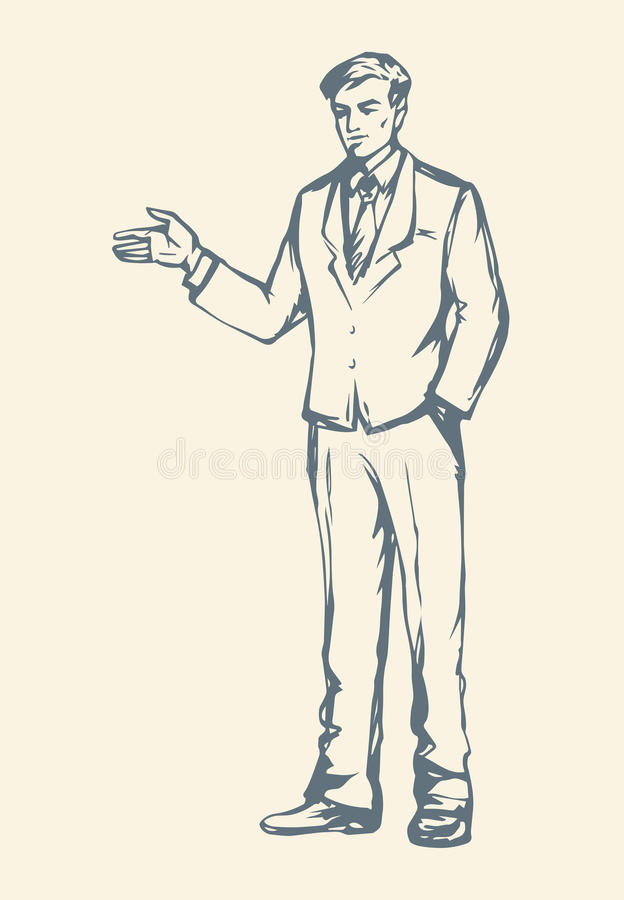 Business man. Vector drawing royalty free illustration