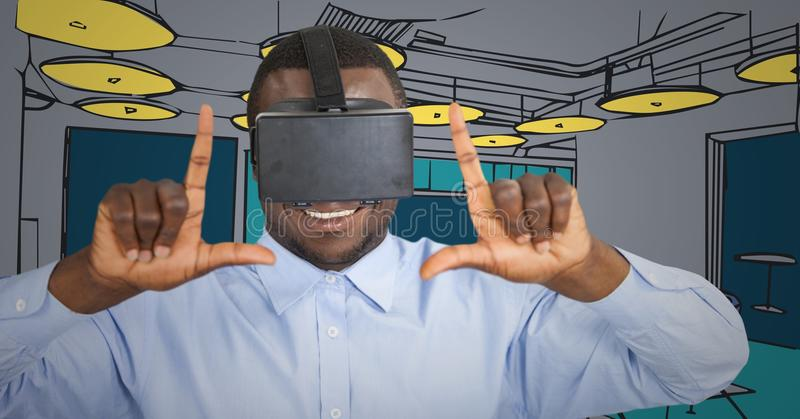 Business man in virtual reality headset doing camera gesture against blue and yellow hand drawn offi royalty free illustration