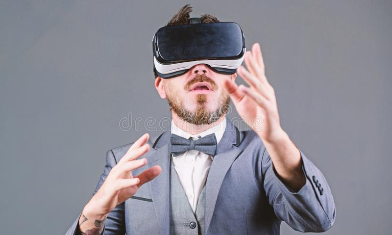 Business man virtual reality. Innovation and technological advances. Business implement modern technology. Businessman. Explore virtual reality. Technology for stock photos