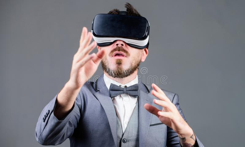 Business man virtual reality. Innovation and technological advances. Business implement modern technology. Businessman. Explore virtual reality. Technology for stock images