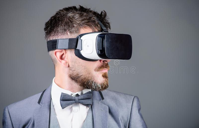 Business man virtual reality. Modern gadget. Innovation and technological advances. Business implement modern technology stock image