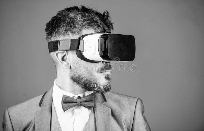 Business man virtual reality. Modern gadget. Innovation and technological advances. Business implement modern technology. Businessman explore virtual reality stock images