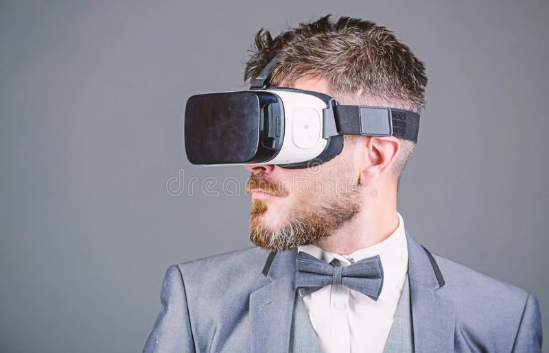 Business man virtual reality. Modern gadget. Innovation and technological advances. Business implement modern technology. Businessman explore virtual reality stock photography