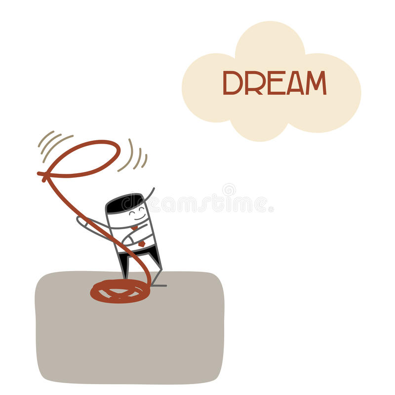Business man vision dream and success. Business man vision and catch dream for future success stock illustration