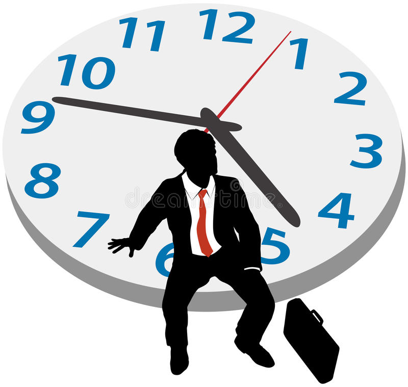 Business man wait appointment time clock