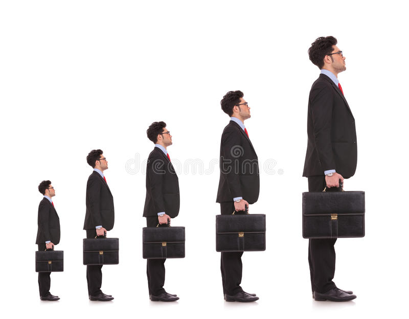 Business man waiting in line stock images