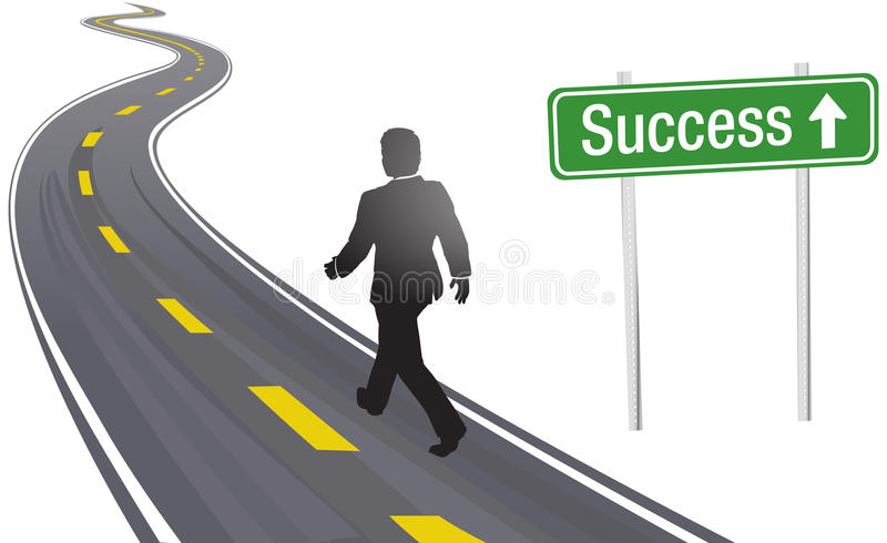 Business man walk road sign to Success stock illustration