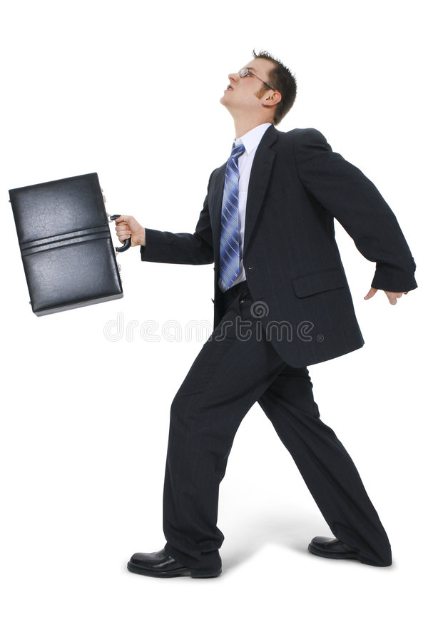 Business Man Walking With Briefcase stock images