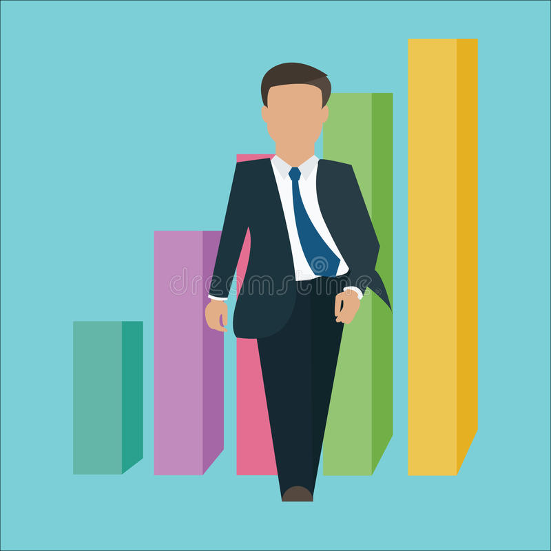Business man walking standing confident confidence with growth bar chart vector illustration