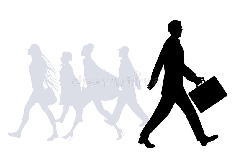 Business man walking in the street. People silhouettes walking stock illustration
