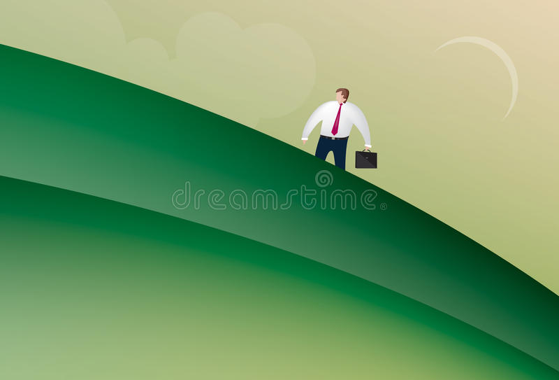 Business man walking up a hill stock illustration