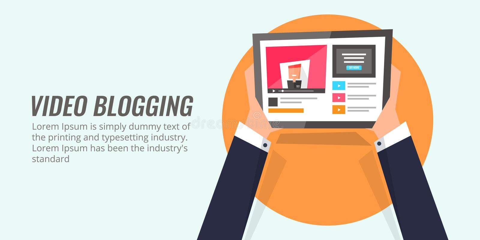 Business man watching a video on a tablet device. Video blogging - vlogging concept of modern digital marketing. Video blogging - a modern digital content royalty free illustration