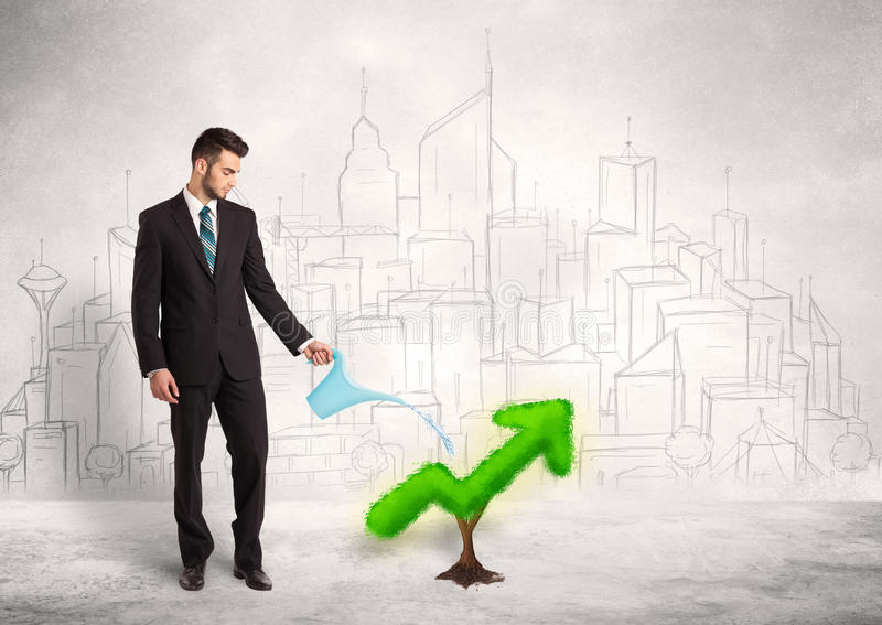 Business man watering green plant arrow. Concept on background royalty free stock photography