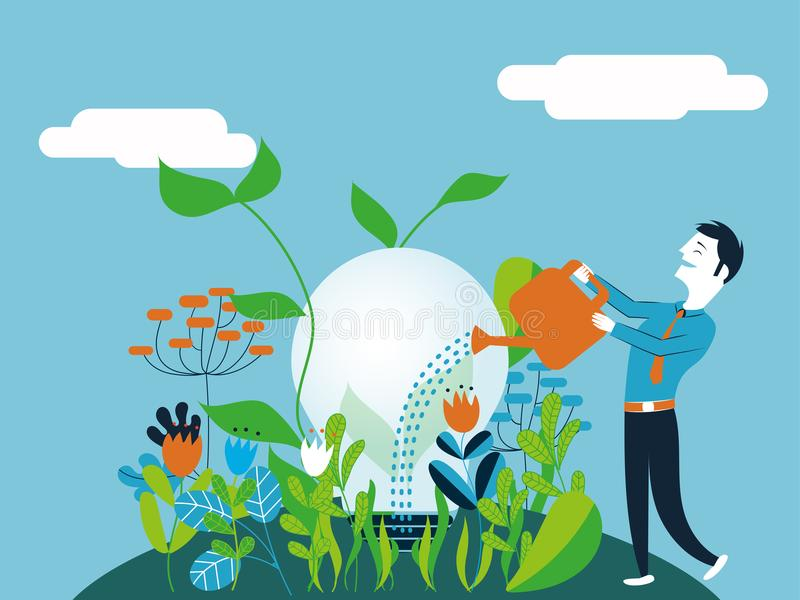 Business man watering a light bulb - Vector illustration for concept of make growing a good and ecological idea. Business man watering a light bulb - Vector royalty free illustration
