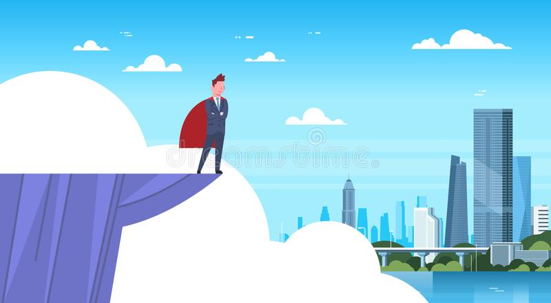 Business Man Wearing Red Cape Standing On Mountain Edge Looking At Modern City Businessman Hero. Flat Vector Illustration vector illustration