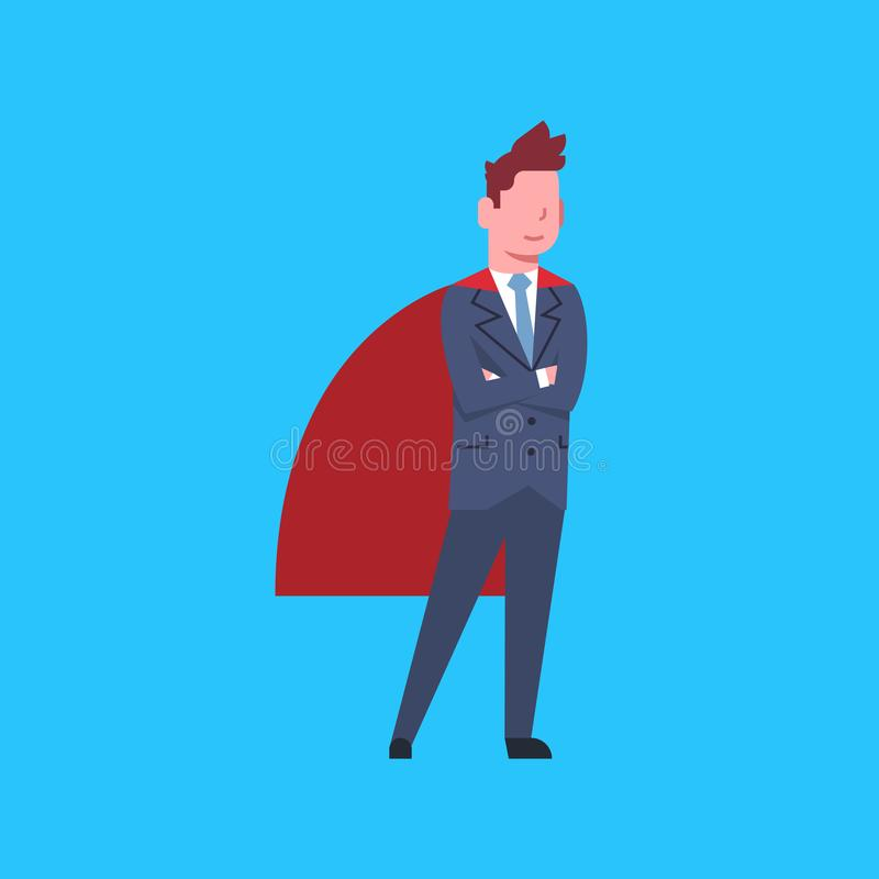 Business Man Wearing Red Hero Cape Businessman Isolated. Flat Vector Illustration stock illustration