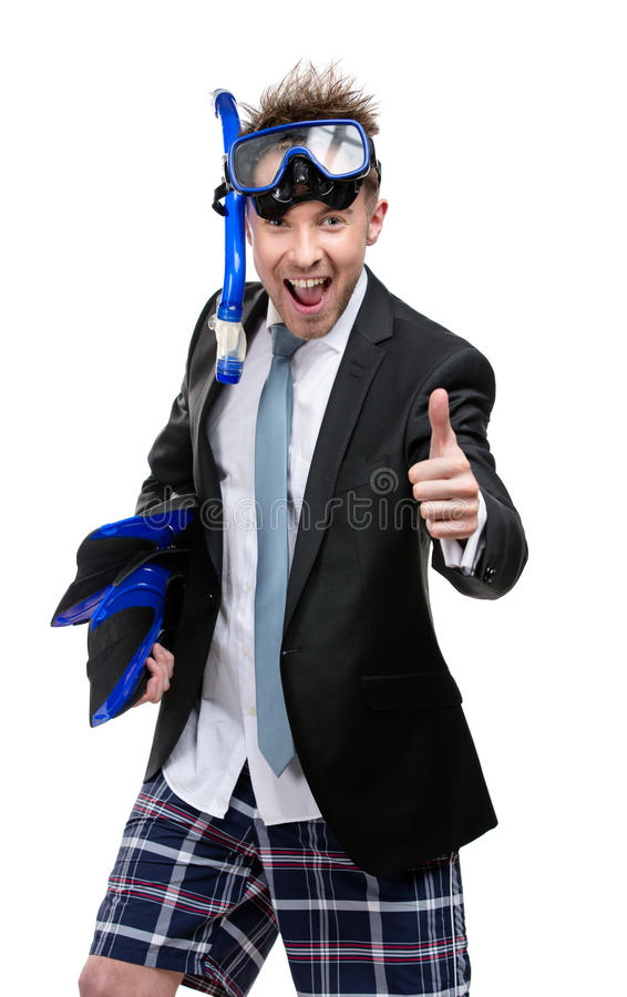 Business man wearing suit and goggles stock photo