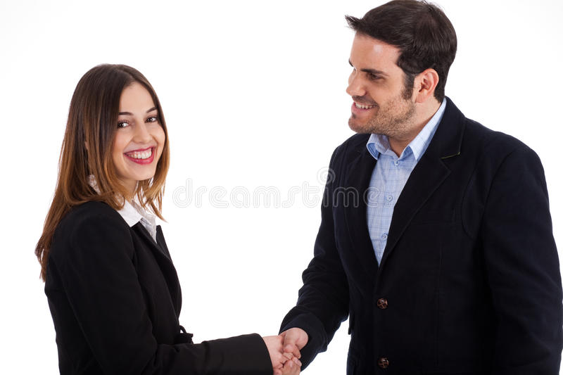 Business man welcoming a women by shake hands. On a white background royalty free stock images