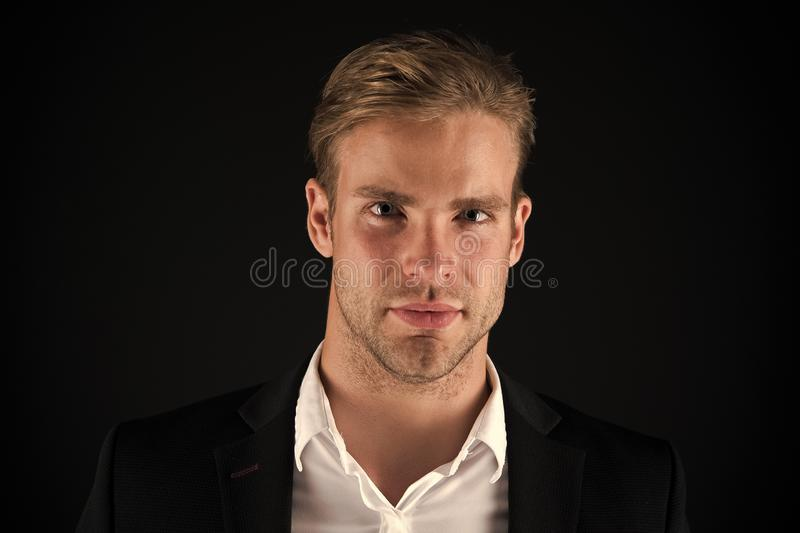 Business man well groomed guy dark background. Business people hairstyle. Businessman hair groomed face. Stylish and royalty free stock photos