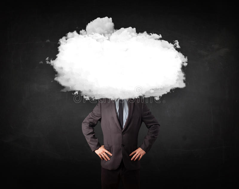 Business Man With White Cloud On His Head Concept Stock Image