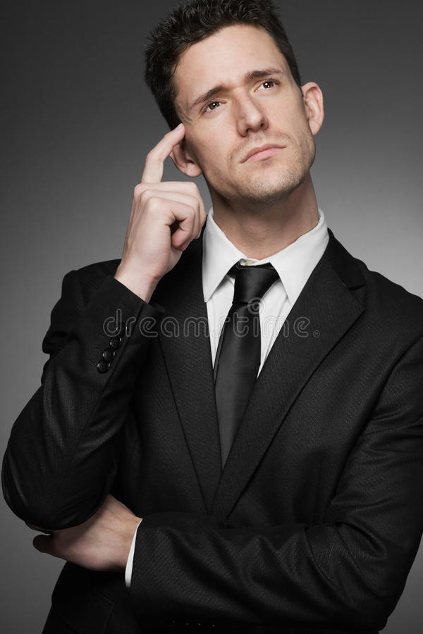 Business Man In White Shirt And Black Suit. Royalty Free Stock Photos