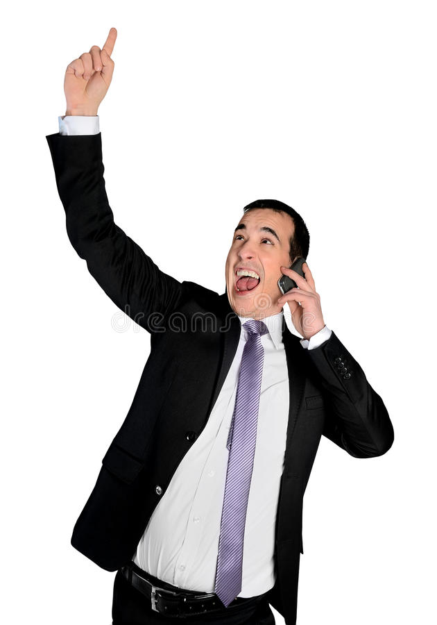 Business man winning talk phone royalty free stock photography