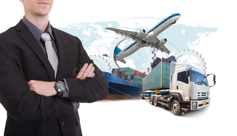 Business man withsupply chain management logistics Import Export royalty free stock images