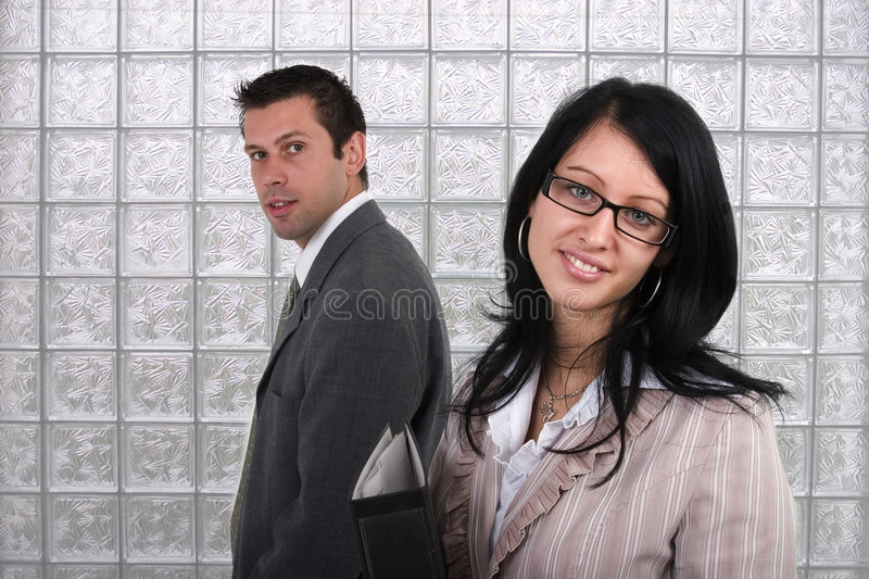 Business man and woman stock photos