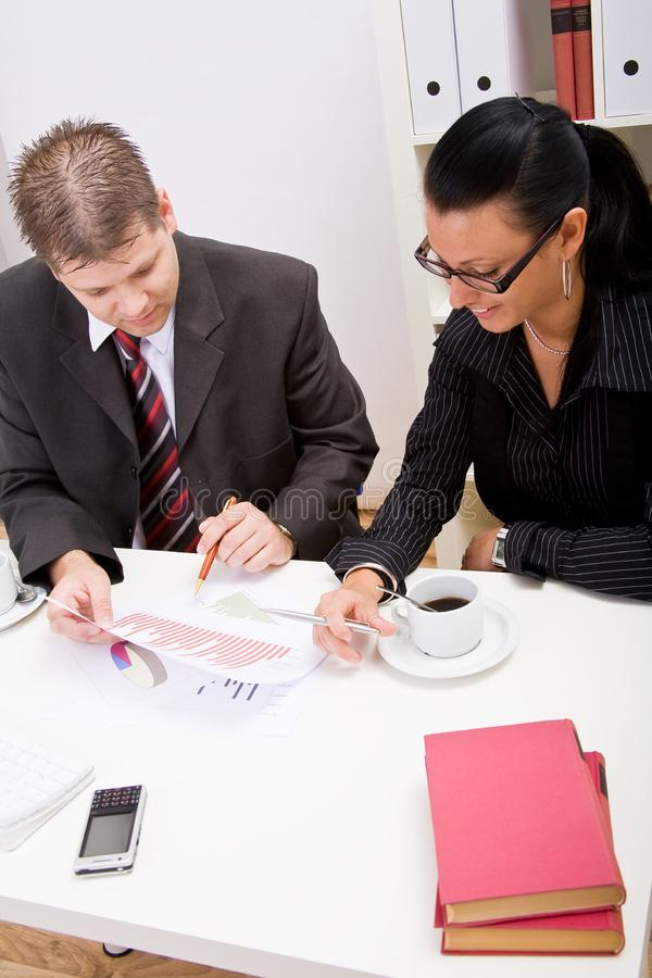 Business man and woman stock images