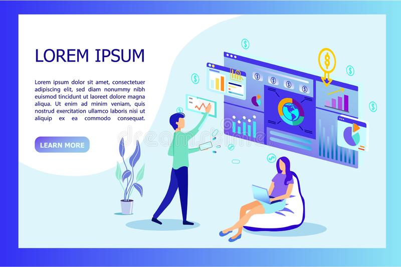 Business Man and Woman Analysing Data Information. Business Man and Woman Working with Data Analysing Information on Huge Screen with Graphs and Charts vector illustration