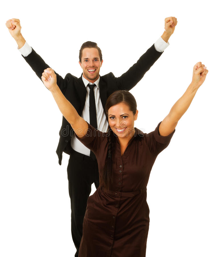 Business man and woman with arms in air royalty free stock photography