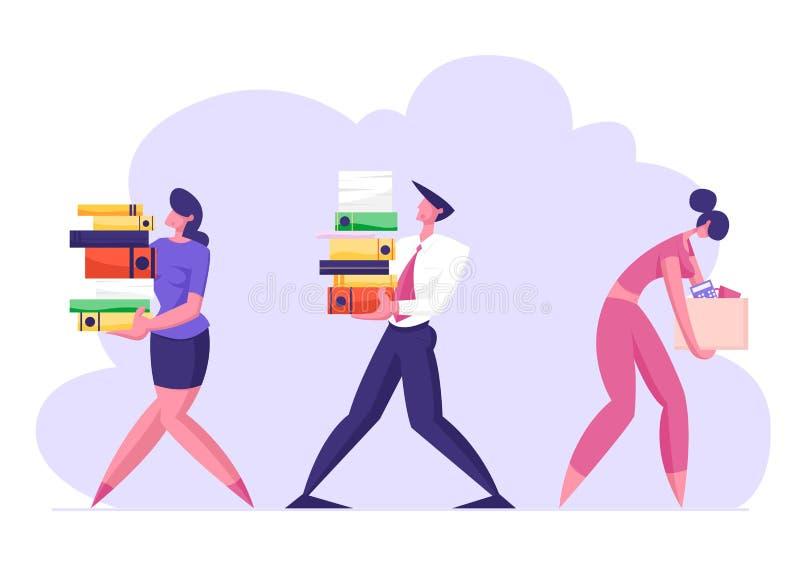 Business Man and Woman Carry Big Heap of Documents Files Filed Sad Bbusiness woman z pudełkiem opuszczającym biuro royalty ilustracja